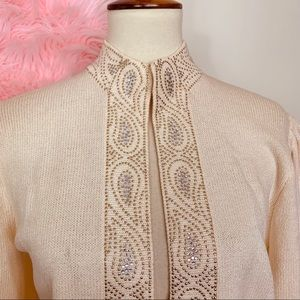 St. John Sweaters - Vtg St. John Embellished Knit Sweater 8 M